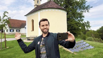 Graz Guide David Zottler macht ein Video.