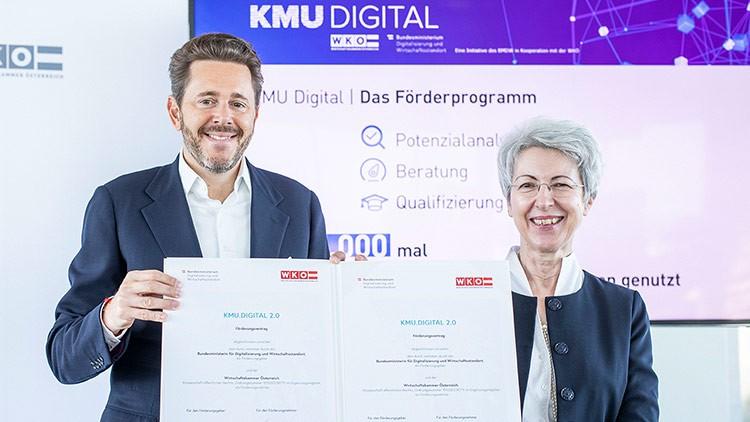 WKÖ-Präsident Harald Mahrer und Wirtschaftsministerin Elisabeth Udolf-Strobl: Das Förderprogramm KMU DIGITAL geht in die nächste Runde