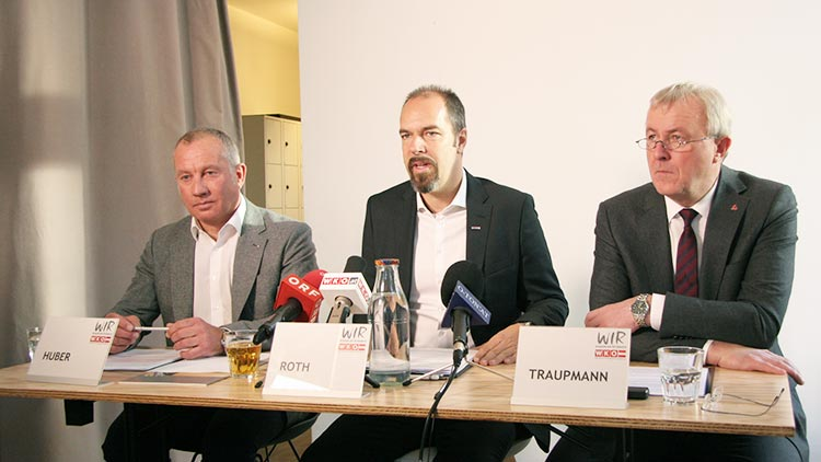 Peter Huber, Geschäftsführer von Viessmann Österreich, Jürgen Roth, Obmann des Fachverbandes Energiehandel in der WKÖ, und Peter Traupmann, Geschäftsführer der Österreichischen Energieagentur