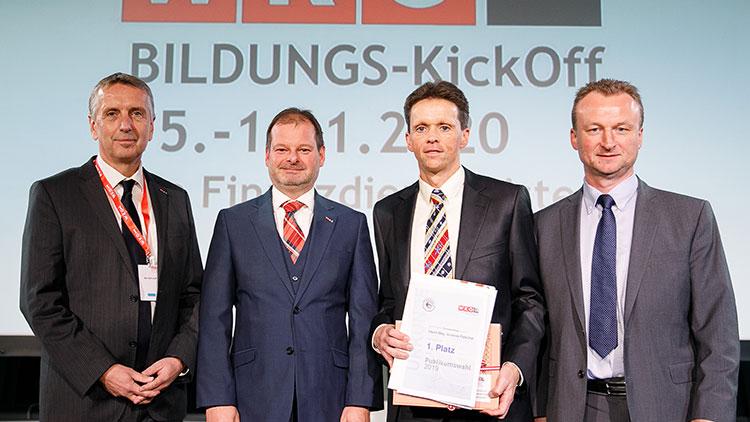 vlnr: Eric Samuiloff (Obmann FG FDL Wien), Mag. Hannes Dolzer (Obmann FV FDL + Obmann FG FDL Steiermark), Mag. Andreas Petschar (Vermögensberater des Jahres 2019), Michael Holzer (Obmann FG FDL NÖ)