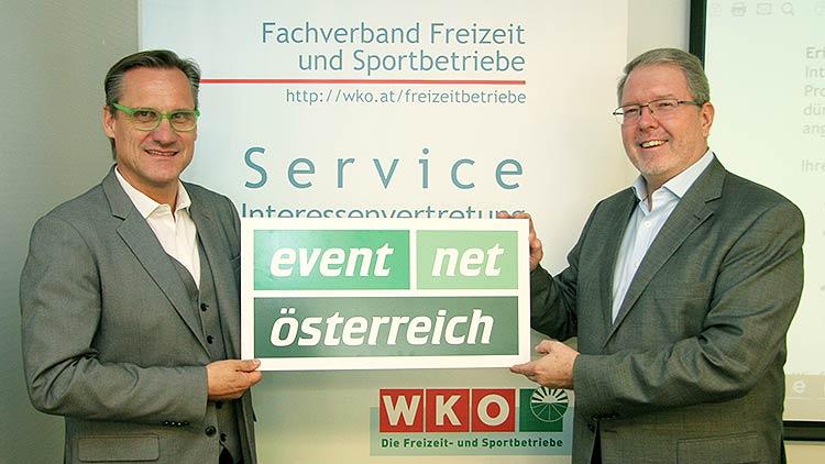 Gert Zaunbauer, stv. Obmann des Fachverbandes Freizeit- und Sportbetriebe, und der neue eventnet-Sprecher Erik Kastner