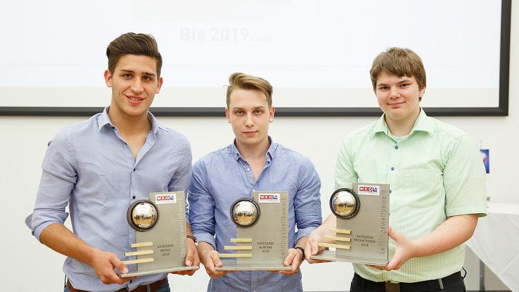 Die 3 Sieger des Lehrlingswettbewerbs.