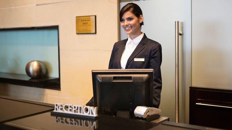 Rezeptionistin, Hotel, Empfang, Computer, Dienstleistung, Frau