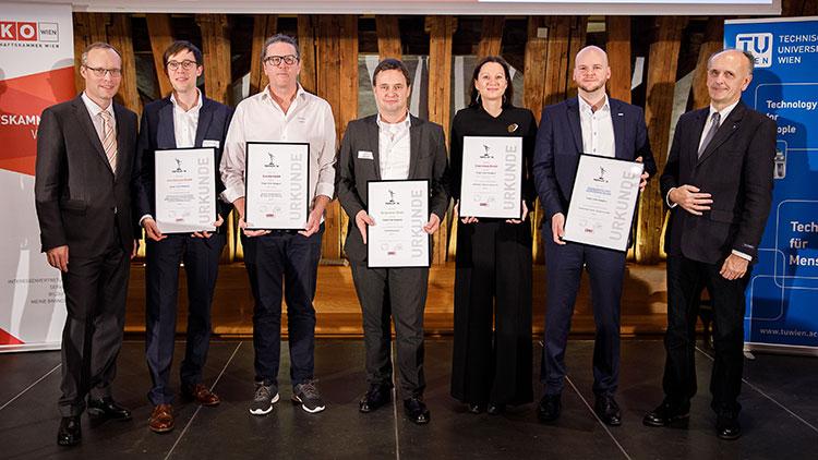Alexander Biach (WKW), Andreas Posch (Ares Genetics), Gernot Rammer (b turtle), Bernhard Obermaier (Cargometer), Doris Bauer-Posautz (Cybershoes), Christian Weiss (Frequentis), Johannes Fröhlich (TU Wien).